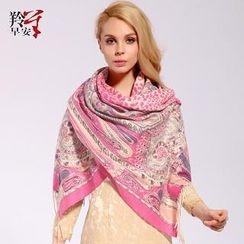 RGLT Scarves - Wool Fringe Patterned Scarf