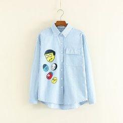 Mushi - Cartoon Print Striped Shirt
