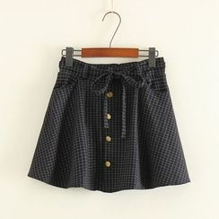 Mushi - Window Pane Buttoned A-Line Mini Skirt