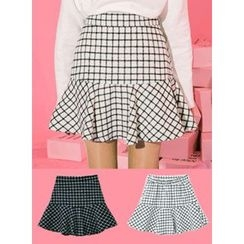icecream12 - Ruffle-Hem Check A-Line Mini Skirt