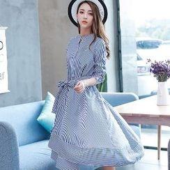 Romantica - 長袖腰繫帶襯衫裙