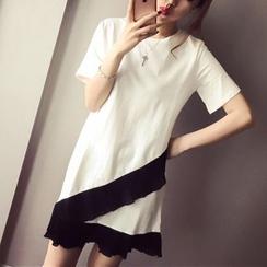 Phantasy - 打褶拼接短袖T裇連衣裙