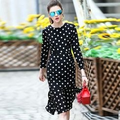 Queen Mulock - Long-Sleeve Dotted Dress