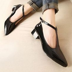 Mancienne - T-Strap Pointy Patent Pumps