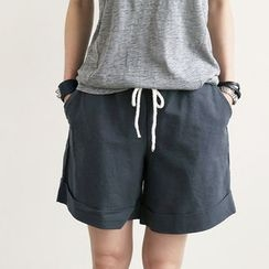 NANING9 - Cotton Drawstring-Waist Shorts
