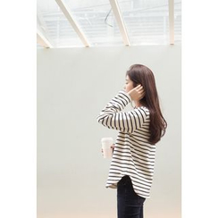 CHERRYKOKO - Round-Hem Stripe Brushed-Sleeve Lined T-Shirt