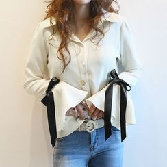 NANING9 - Bell-Sleeve Tie-Cuff Blouse
