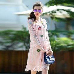 洛圖 - 長袖刺繡蕾絲連衣裙