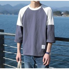 Bestrooy - 3/4-Sleeve Color Block T-Shirt