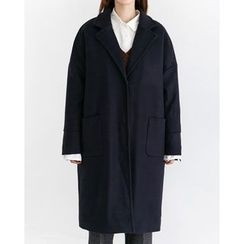 Someday, if - Strap-Detail Single-Breasted Wool Blend Coat
