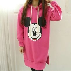 Dodostyle - Mickey Mouse Printed Hooded Pullover Dress