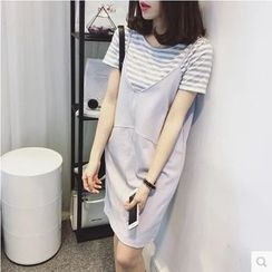 VIZZI - Set: Striped Short Sleeve T-Shirt + Spaghetti Strap Dress