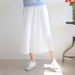 CLICK - Pleated Maxi Chiffon Skirt