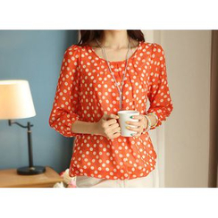 Zyote - 3/4-Sleeve Dotted Blouse