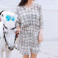 小桃泳衣 - 套裝: 格子比基尼泳衣 + 罩衫