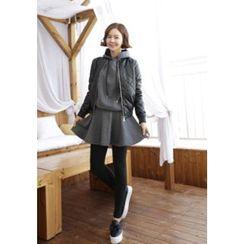 Lemite - Set: Cotton Hooded Pullover + Inset Skirt Leggings