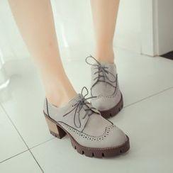 Pretty in Boots - Block Heel Brogue Oxfords