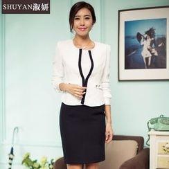 Aision - Set: Contrast-Trim Jacket + Skirt