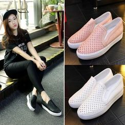 Shoes Galore - Perforated Platform Slip-Ons