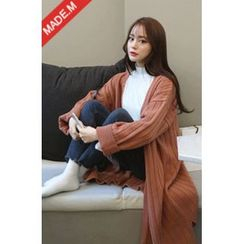 MICHYEORA - Open-Front Rib-Knit Long Cardigan