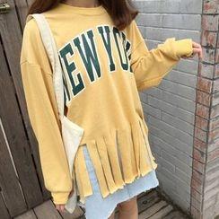 Dute - Lettering Slit Sweatshirt