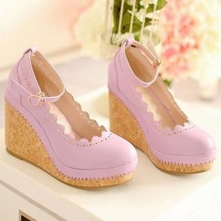 77Queen - Perforated-Trim Ankle-Strap Wedges