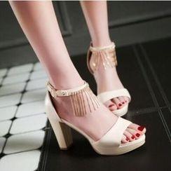 Tomma - Rhinestone Platform Heel Sandals