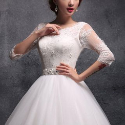 Coeur Wedding - Lace Panel Ball Gown Wedding Dress