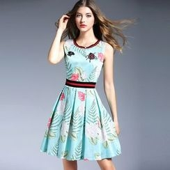 Elabo - Floral Print Sleeveless A-Line Dress
