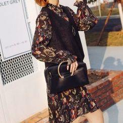 Romantica - Set: Floral Chiffon Dress + Vest