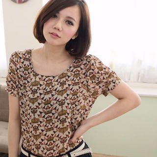 Short-Sleeve Patterned Chiffon Top