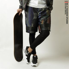 Mr.C studio - 假两件内搭裤印花短裤