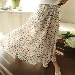 Colorful Shop - Patterned Chiffon Long Skirt