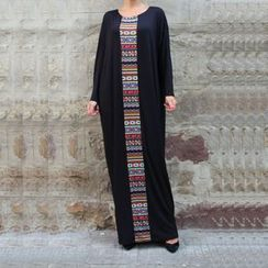 Hotprint - Patterned Panel Long-Sleeve Dress