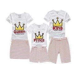 Love Affairs -  Set: Short-Sleeve Printed Family T-Shirt + Shorts / Pencil Skirt (Couple)