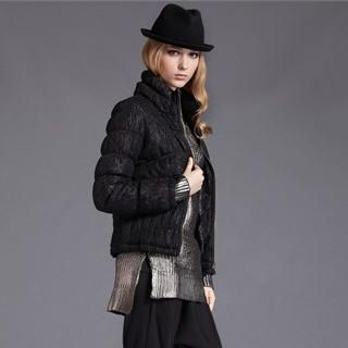 Moonbasa - Stand-Collar Lace Padded Vest