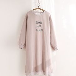 11.STREET - Embroidered Letter Sweat Dress