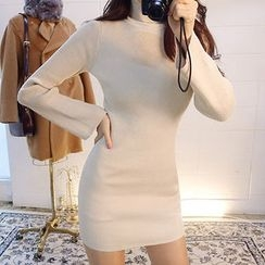 chuu - Turtle-Neck Bell-Sleeve Knit Bodycon Dress