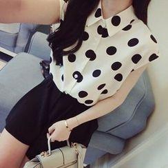 Girl Next Door - Sleeveless Dotted Chiffon Shirt