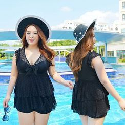 Blue Lagoon - Lace Panel Frill Swimdress