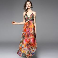 Y:Q - 高腰印花沙滩吊带连衣裙