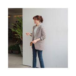 LEELIN - One-Button Tweed Blazer