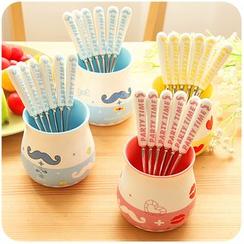 Momoi - Set: Ceramic Mug + 6 Forks