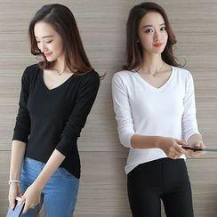 Ashlee - Plain V-neck Long-Sleeve T-shirt