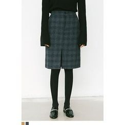 QQQQ - Slit-Hem Wool Blend Plaid Skirt