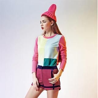 ELF SACK - Long-Sleeve Color-Block T-Shirt