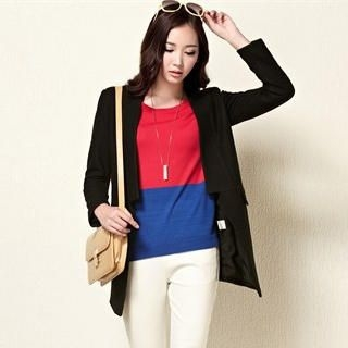 Moonbasa - Wool-Blend Open-Front Long Blazer