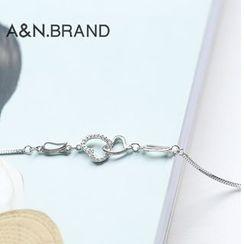 AINIAN - 925 Sterling Silver Heart Bracelet
