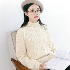 Forest Girl - Mock Neck Diamond Sweater
