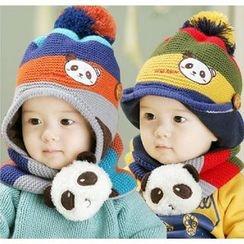 POMME - Baby Set: Panda Applique Beanie + Panda Scarf